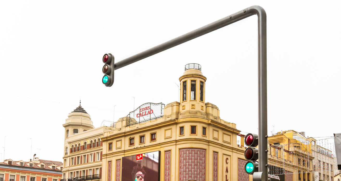 The Galician seal of quality for the newly installed traffic lights on Madrid's Gran Vía,